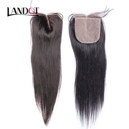 Wholesale Middle Part Malaysian Wigs - Silk Base Closure Brazilian Malaysian Peruvian Indian Cambodian Virgin Human Hair Top Lace Closures Straight Free Middle 3 Part Hidden Knots