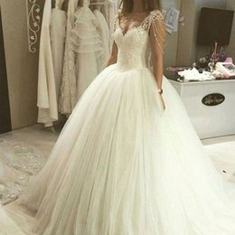 Wholesale Sweetheart Neck Tulle Ball Gown - Princess Wedding Dresses from China Ball Gown Sweetheart Sheer Straps Beading Lace Tule Puffy Tulle Bridal Gowns Custom Made
