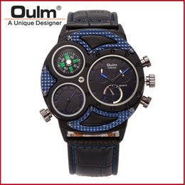 Wholesale Oulm Compass - Wholesale Brand Oulm 3594 Men Big dial Dual-movement Sport Quartz Watch Men Military Compass Leather Wristwatches Relogio Masculino