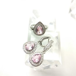 Wholesale B 925 China - The new jewelry set for women's 925 stylish Pink Earrings Ring Size 789 free jewelry boxes B