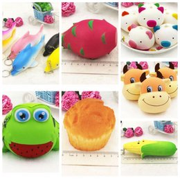 Wholesale Frog Soft Toy - Squishy Toy frog cake Animal dolphin corn Squishy Slow Rising Soft Squeeze Cute gift Stress hildren toys Kawaii bread cake Squishy KKA2860