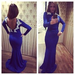 Wholesale Coral Silk Robes - 2016 Royal Blue Mermaid Prom Dresses High Neck Lace Appliqued Long Sleeves Sexy Backless Evening Dresses Celebrity Dresses Prom Gowns Robes