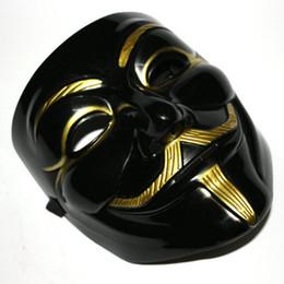 Wholesale Vendetta Gold - Wholesale-New V for Vendetta Mask Black Gold Mask Guy Fawkes Anonymous carnival costume