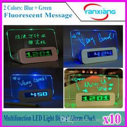 UK usb desk led - 10pcs Romantic Fluorescent Message Board LED Electronic Digital Luminous Desk Alarm Clock Calendar USB Hub Screen Night Lights YX-LYD-01