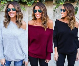 Wholesale Batwing Dolman Sleeve - Women's Autumn And Winter Fashion Bat Sleeve Knits Shirt Europe And America Sexy Slash Neck Solid Color Bat Sleeve Knits Shirt S-2XL