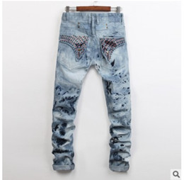 Wholesale long black nails - 2017, autumn fashion, international major, fried snow jeans, men's hot nails, men's jeans, small straight cylinder