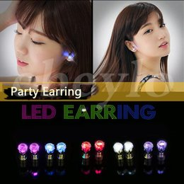 Wholesale Led Stud Lights - LED Stud Flash Earrings Hairpins Strobe LED Earring Lights Strobe Luminous Earring Party Fashion Studs Lights For Christmas Gift Halloween