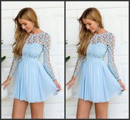 Wholesale Short Sleeve Chiffon Mini Dress - Short Prom Flowers Lace Long Sleeves Iullsion Jewel Neck Mini Length Party Dress Graduation Dress Celebrate