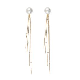 Wholesale Drop Coral Earring - New listing Fashion white K   long gold chain tassel earrings female glamor girls pearl jewelry 1pair lot drop shipping