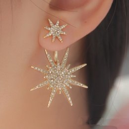 Wholesale Gold Crystal Snowflake Charm - Wholesale Fashion Hexagram Snowflake Crystal Fission Stud Earrings Charms Jewelry Gift