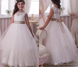 Wholesale Crystal Applique For Sash - Lace Applique Crystal Flower Girl Dresses 2017 For Wedding Floor Length Jewel Neck Beaded Sash Tulle Party Pageant Prom Ball Gown