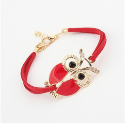 Wholesale Vintage Rhinestone Owl Bracelet - Wholesale Owl Bracelets New Retro Owl Leather Bracelets Charm Bracelets for Women Vintage Jewelry for Christmas New Year Gift