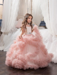 Wholesale Christmas Kids Gown Back - Girls Pageant Dresses Tulle Ruffle Clouds Ball Gown Girls Prom Dresses Round Neck Low Back Crystal Beadings Waistband Kids Gowns