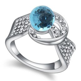 Wholesale Swarovski Crystal Ring Blue - Crystals from Swarovski Elements Women Solitaire Blue Stone Ring Fashion Jewelry Party Anillo Gifts Bride Wedding Accessorios .17136