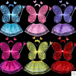 Wholesale Wings Skirt - 4Pcs Fairy Princess Kids Costume Set Butterfly Wings Wand Headband Tutu Skirt Children Stage Wear Girls Party Halloween Costumes