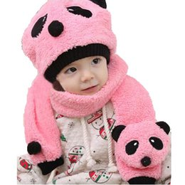 Wholesale Girls Panda Set - Wholesale Children Unisex Coral Velvet Beanies Hat and Scarf 2 Pieces Suit Sets Kids Baby Cute Panda Winter Warm Caps Scarf MZ0624