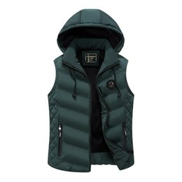 Wholesale Men Jacket Hood Cotton - Men Winter Waistcoat Hoodies Jacket Coat Down Vest Hood Detachable Thick Warm Outwear Overcoat Waterproof Zipper Plus Size 3xl