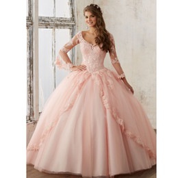 Wholesale Long Baby Blue Prom Dresses - 2018 Sheer Long Sleeve Baby Pink Ball Gown Quinceanera Dresses V Neck Lace Applqiues Long Prom Sweet 16 Gowns Quinceanera Dress