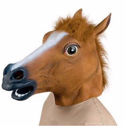 Wholesale Realistic Animal Costumes - Full Head Mask Horse Head Mask Creepy Fur Mane Latex Realistic Crazy Rubber Super Creepy Party Halloween Costume Animal Mask
