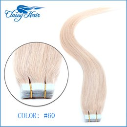 Wholesale Human Hair Adhesive Tape - Light Blonde Straight Adhesive Skin Wefts Tape In Human Hair Extensions PU Tape Hair 20pcs set 16 - 24 inches