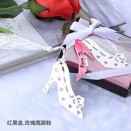 Wholesale Decorations For Shoes Babies - High-heeled Shoes bookmark for wedding decoration wedding baptism favors and gift for wedding party baby show DHL Free Shipping