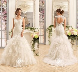 Wholesale Retro Short Wedding Dresses - 2016 Vintage Retro Unique Tiers Ruffles Skirts Wedding Dresses Vestios Do Novia Sweetheart Cap Sleeves Lace Backless Mermaid Bridal Gowns