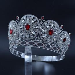 Belleza personalizada online-Miss belleza coronas para el concurso de concurso Personalizada temporal temporal Estantes círculos redondos nupcial boda tiaras piedra roja mezcla Mo228