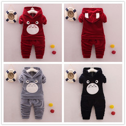 Wholesale Flannels Clothing - kids clothes 2017 autumn girls boys velvet clothing long sleeve hoodies + pants 2 pcs outfit clothes