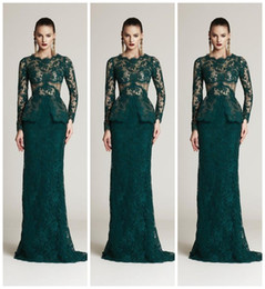 Wholesale Plus Size Lace Peplum Dress - 2016 Dark Green Full Lace Mermaid Formal Evening Dresses Crew Long Sleeve Peplum Sexy Party Prom Dress Gowns Vestidos De Festa Cheap