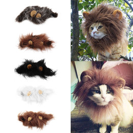 Wholesale Lion Wigs Dogs - Hot Sale Pet Cat Dog Dress Up Costume Wig Emulation Lion Hair Mane Ears Head Cap Autumn Winter Muffler Scarf Pet Products
