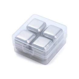 Wholesale Stainless Steel Whiskey Stones - 50set NEW 4Pcs set Whiskey Wine Beer Stones Stainless Steel Cooler Stone Ice Rocks Cube Alcohol Physical Chiller Stone ZA0902
