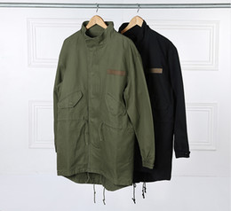 Wholesale Mens Jackets Designs - Military Style Kanye West Army Green Trench Coat Mens 2016 Kpop Clothing Applique Design Cargo Jackets YEE3321