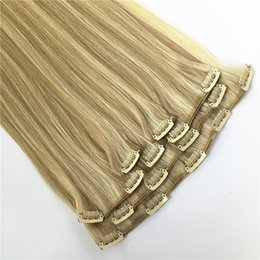 Wholesale Remy Clip Extension Wholesale - Grade 7A--Clip In Human Hair Extensions  Piano color 4 27 & 3 Pieces Set 9clips 100% Remy Hair Full Head Sets 120G