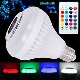 Wholesale Smart Rgb Led - inteligente E27 smart LED music bulb RGB wireless bluetooth Audio music playing lampada bluetooth speaker bulb remote control