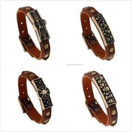 Wholesale Antique Bangle Bracelets - men bracelets Charms Antique Freemasonry Masonic Symbols Bracelet Male Leather Skull Bracelet Cheap Men Jewelry Accessories Gift bangles