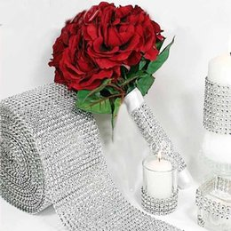 Wholesale Crystal Decoration Products - 10 Yards Silver Crystal Diamond Mesh Rhinestone Ribbon for Wedding Party Gift Vase Floral Decoration Products Decor