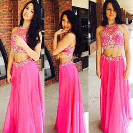 Wholesale Hot High Collar Top - Two Piece Beaded Prom Dress with Illusion Neck Hot Pink Mesh Party dress Cheap Halter Crop Top Crystal Custom Made