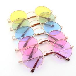 Wholesale Circle Lens Sunglasses - Retail Wholesale John Lennon Vintage Retro Mirroered Round Circle Lens Mirror Hippie Shades Sunglasses Colored Lenses
