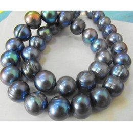 """Wholesale 13mm Pearl Necklace - 14K NOBLEST RARE NATURAL 12-13MM SOUTH SEA BLACK BLUE PEARL NECKLACE 18"""""""