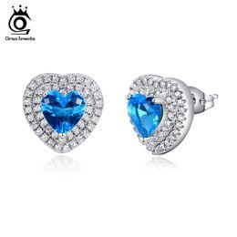 Wholesale Silver Heart Shape Stud Earrings - ORSA JEWELS New Arrival Silver Earring Heart Shaped Blue Zircon with Micro Paved CZ Earring Stud for Women OE98