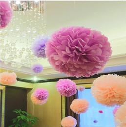 Wholesale Tissue Paper Pompoms Wholesale - Paper PomPoms Tissue Flower Balls decorative flower for home wedding event birthday party crafts Supplies Decorative Flowers
