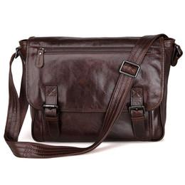 Wholesale Korean Shoulder Bag For Men - Mens Genuine Leather Korean Style Single Inclined Shoulder Bag Fit For 13 inch laptop Bag Macbookpro Chocolate Color 7022