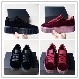 Wholesale Cheap Round Buttons - 2017 Velvet Rihanna x Suede Creepers Rihanna Creeper Running Shoes Grey Red Black Women Men Fashion cheap Casual Shoes sneakers