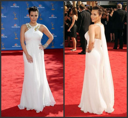 Wholesale Evening Gowns Emmy - Sexy White Kim Kardashian Evening Dresses 2016 Emmy Awards Chiffon White Celebrity Dresses Red Carpet Off the Shoulder Long Evening Gowns