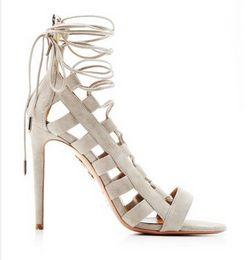 Wholesale Trendy Zips Women - 2016 new women sandals cut-outs lace-up zip peep toe high heels sandals woman sandalias fashion sandals trendy party shoes shoes women