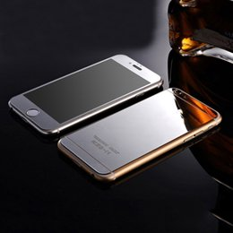 Wholesale Protective Covers For Iphone 4s - Metal plating glass Front+Back Mirror Effect Color Protective Film case For iPhone 4s 5 5s 6 6s plus Full Cover Screen Protector