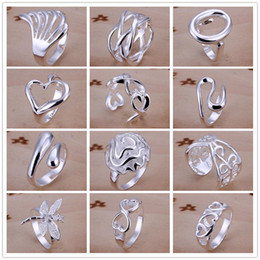 Wholesale Vintage Silver Rings 925 - 925 Sterling Silver Plated Multi Styles Charms Rings Vintage Finger Ring Nice Christmas Gift for women Ladies Size 7,8 Open Style Mixed