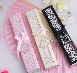 Wholesale Elegant Wedding Favors Ivory - DHL Freeshipping Luxurious Silk Fold hand Fan in Elegant Laser-Cut Gift Box (Black; Ivory) +Party Favors wedding Gifts