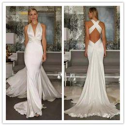 Wholesale White Silk Backless Wedding Dress - 2018 Sexy Simple Mermaid Wedding Dresses Beach Cross Belt Open Back Casual Deep V Neck sleeveless Wedding Dress custom made