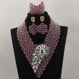 Wholesale Red Bridal Jewellery - silver fashion sets jewellery silver fushia nigerian wedding bridal jewelry bracelet set african beads necklace set